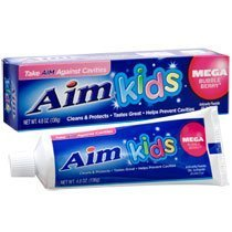 Aim Kids Mega Bubble Berry Fluoride GEL Toothpaste 4.8 Oz (Pack of 6) by Church & Dwight - Aim Fluoride Toothpaste