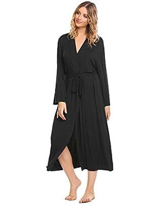 Ekouaer Women's Long Soft Kimono Robes Knit Bathrobe Comfort Sleepwear Loungewear