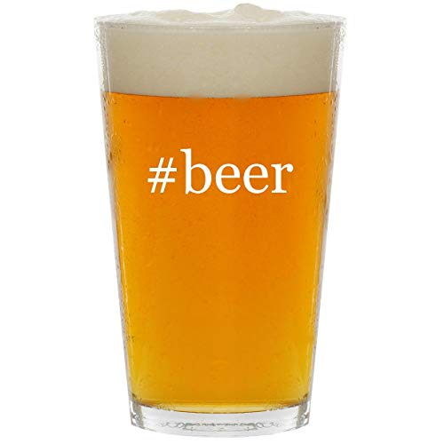 - #beer - Glass Hashtag 16oz Beer Pint