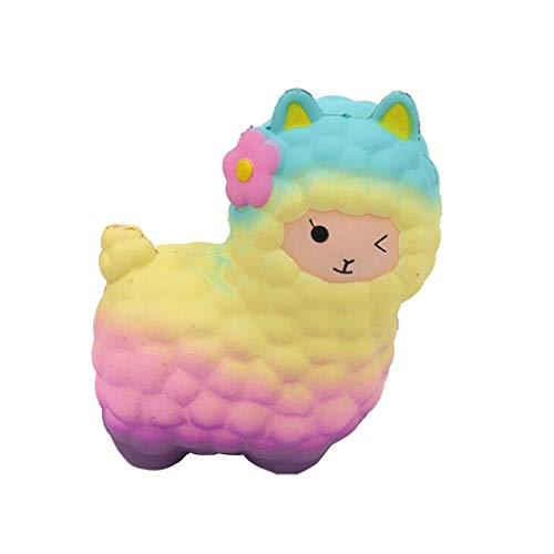 Echou Jumbo Sheep Squishy Cute Alpaca Galaxy Super Slow Rising Scented Fun Animal Toys (colorful)