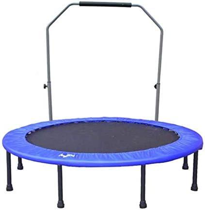 自己フィットネス ジム設備 機能的 ハンドルバーミニトランポリン、子供と大人の屋内カーディオワークアウトトレーニング - 静かで安全な四褶曲(直径122CM)のための最大負荷Reboundersトランポリン(色:ブルー)