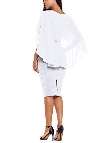 Alvaq Femmes Mousseline À Volants Manches Cape Robe Moulante Midi (6 Couleurs S-xxl) Blanc