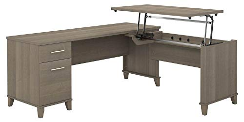 Bush Furniture Somerset 72W 3 Position Sit to Stand L Shaped Desk in Ash Gray (Corner Stand Furniture)