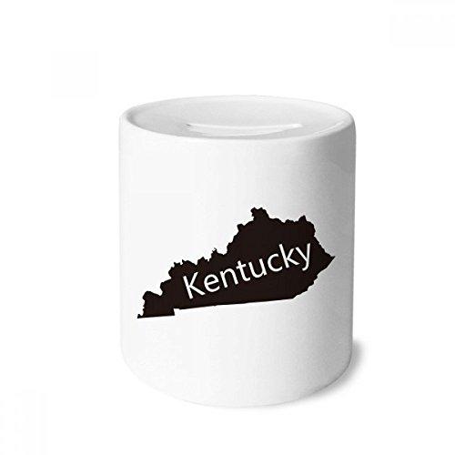 DIYthinker Kentucky America USA Map Silhouette Money Box Saving Banks Ceramic Coin Case Kids Adults (Kentucky Silhouette)