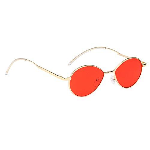 dorado lente para Mujer roja Marco Ovalada Conducción lente Retro Marco Marco al Plástico Lente dorado Magideal de Aire Estilo UV400 de champán Sol Deporte Gafas Libre Protección w1gqfOtR