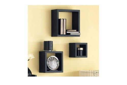 Set De 3 Etageres Noires Forme Cube Amazon Fr Cuisine Maison