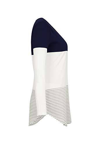 Rayure Fonc Jumpers Patchwork Col et Shirts T Manches Bleu pissure Fashion Printemps Pulls Rond Shirts Blouse Tees Automne Femmes Hauts Casual Tops Longues w4PFqAZB