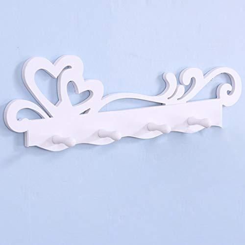 Heart Key Holder - Key Holder for Wall, Heart Rack 4-Hooks Wall Mount Hanger Decorative White Home Organizer