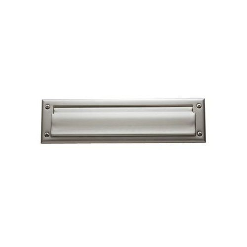 """Baldwin 0014.056 Lifetime Satin Nickel 13"""" x 3.625"""" Letter Box Plate with Interior Plate"""