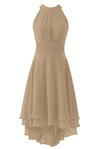 Kevins Bridal Women's High Low Short Bridesmaid Dresses Chiffon Halter Prom Dress Champagne Size 14 - Coral Halter Dress