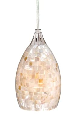 Vaxcel Lighting PD53206SN Milano Mini Pendant Satin Nickel Mosaic Shell Glass