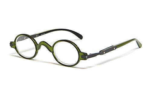 Calabria R314 Unisex Vintage Professor Oval Reading Glasses Incredibly Lightweight and Comfortable in Olive +1.00