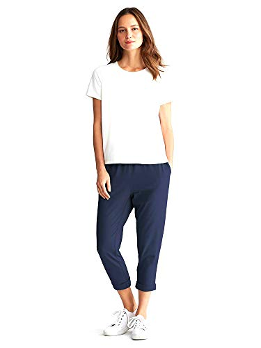 Eileen Fisher Women's Organic Cotton Stretch Jersey Crop Slouchy Pant, Midnight (X-Small)