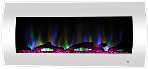 Cheap Cambridge 42-in. Curved Wall-Mount Heater in White with Multi-Color LED Flames Driftwood Logs and Remote Control CAM42CWMEF-2WHT Electric Fireplace Black Friday & Cyber Monday 2019