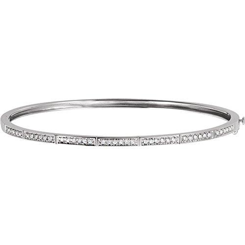 (14k White Gold Diamond Bangle Bracelet 1/3ct)