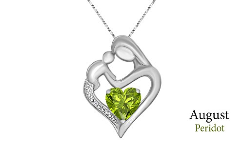 (Jewel Zone US Mothers Day Jewelry Gifts Simulated Peridot & White Natural Diamond Accent Mother & Child Heart Pendant in 14k White Gold Over Sterling Silver (11/10 Cttw))