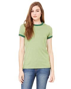 - Bella Women's Short Sleeve Heather Jersey Ringer T-Shirt B6050 green Small
