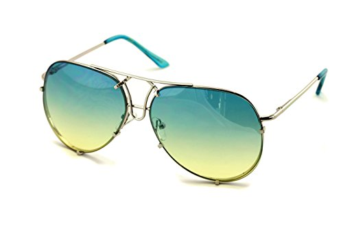 V.W.E. New Large Limited Edition Colorful Gradient Lens Metal Aviator Sunglasses (Aqua)
