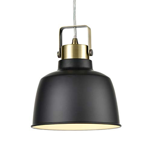Light Society Mercer Mini Pendant Light, Matte Black Shade with Brushed Brass Finish, Modern Industrial Farmhouse Lighting Fixture LS-C169-BLK