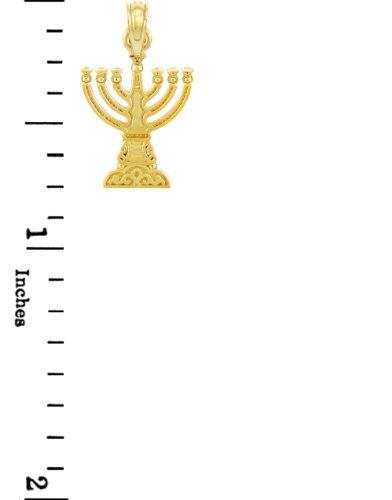"Petits Merveilles D'amour - 14 ct 585/1000 Juif Gold - Or Jaune ""Menorah"" Pendentif"
