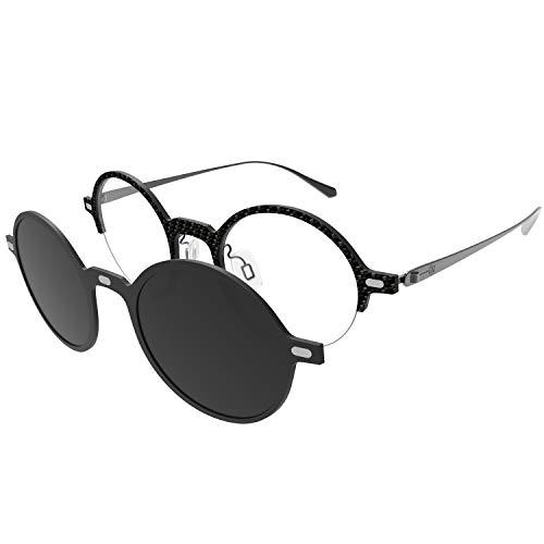GLASSESKING Blue Light Blocking Glasses Eyeglasses Frames With Magnetic Clip Sunglasses (Gray) (Magnetic Eyeglass Frame)