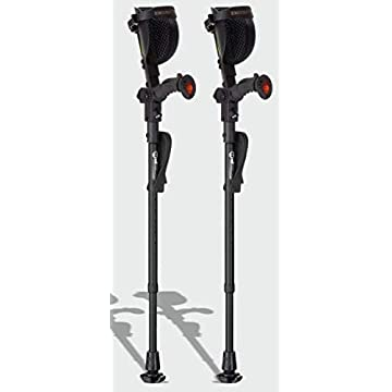 Image of Ergobaum Jr. Forearm Crutches with Shock Absorbers for Users 3'9'' to 5' in Height, with Ergonomic Handle Grips, All-Terrain Ultralite Non-Slip Rubber Tips, Knee-Rest Platforms, LED Light (Black) Crutches