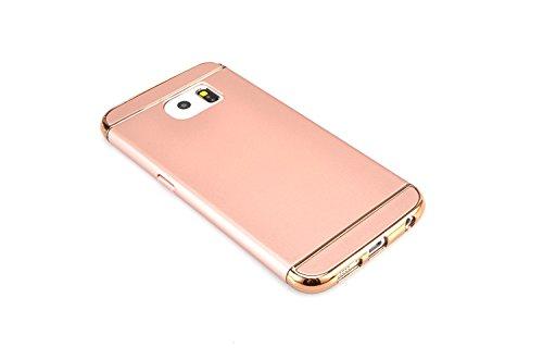 Samsung Galaxy S6 Edge Plus Funda, Vandot Hybrid Diseño 3 en 1 Cáscara Dura de la PC Recubrimiento Metálico Marco Chapado Matte de Lujo Hard Caja de Telefono Duro Protección Cubierta Case Cover para S Hybrid Rosa