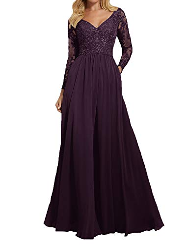 01117ebb0365 PearlBridal Women's Long Lace Bridesmaid Gowns 2019 Long Sleeves Wedding Formal  Dresses Grape Size 0