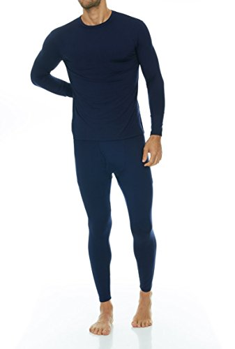 (Thermajohn Men's Ultra Soft Thermal Underwear Long Johns Set with Fleece Lined (Small, Navy))