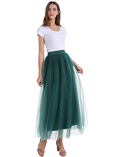 Romantic Plan Long Pleated Tulle A Line Elastic Waist for Wedding Party Skirt Dark Green