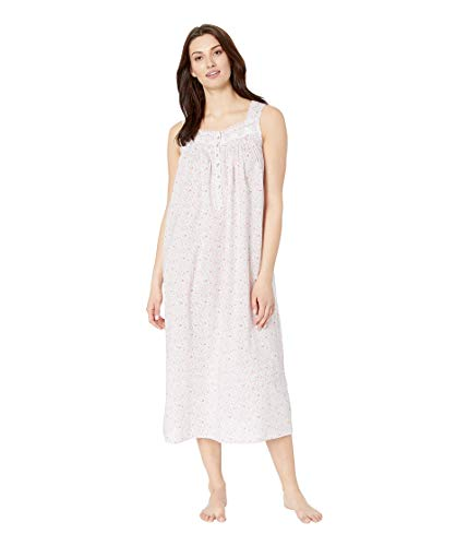 Eileen West Women's Cotton Woven Lawn Ballet Nightgown White Ground Multi Ditsy Floral X-Small
