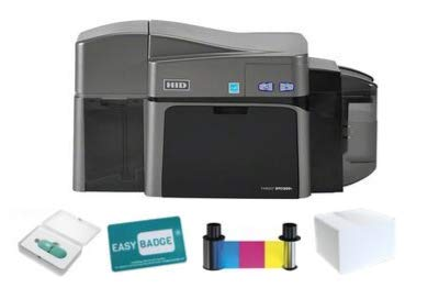 Complete Fargo DTC1250e Dual-Sided ID Card Printer Bundle with EasyBadge ID Card Software