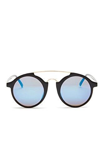 Sunny Rebel Women's Round Monaco Sunglasses + Pouch (Black, Blue - Monaco Sunglasses