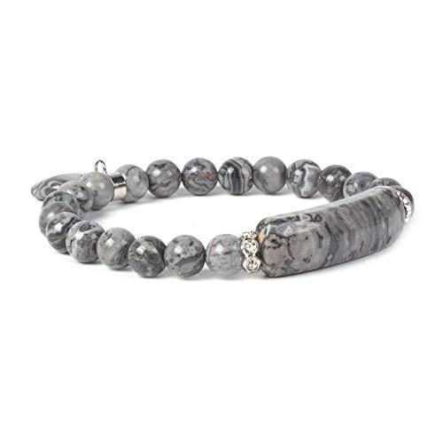 Natural Black Lace Agate Gem Semi Precious Gemstone Love Heart Charm Stretch Bracelet ()