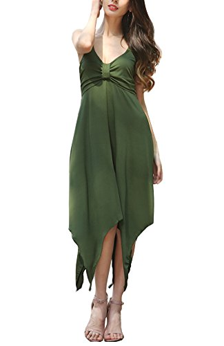 Maybest Womens Summer Casual Strap Sleeveless Corset Bodice Asymmetrical Hem Dress Beach Holiday Short Dovetail Sundress Army green US 16