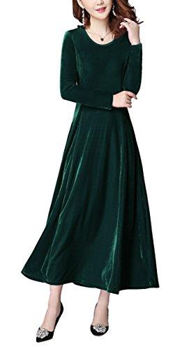 Urban GoCo Mujeres Elegante Vestidos Terciopelo Largo Vestido Manga Larga Maxi Vestidos para Cóctel Fiesta Verde