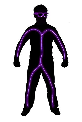 GlowCity Light Up Stick Figure Costume Kit Includes Lights, Shades and Clips Only-Clothing Not Included-Purple Reg -