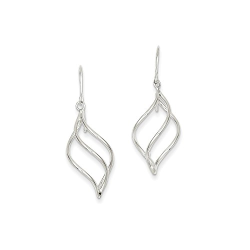 Roy Rose Jewelry 14K White Gold Polished Short Twisted Dangle Earrings by Roy Rose Jewelry