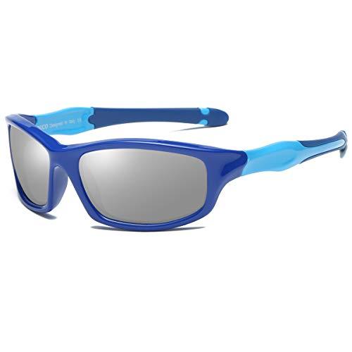 Duco Kids Polarized Sunglasses Childrens Sunglasses Flexible Frame For Boys And Girls K006 (Blue Frame Blue Temple Mirror Lens, ()