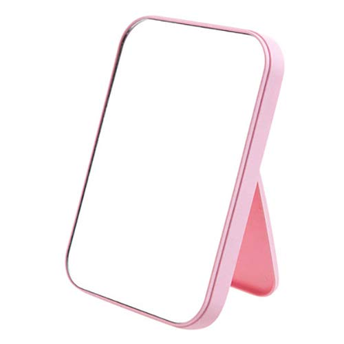 Coobbar Desktop Makeup Mirror,Foldable Makeup Mirror Simple Portable Princess Mirror Square Mirror Makeup Mirror for Women (Pink) ()