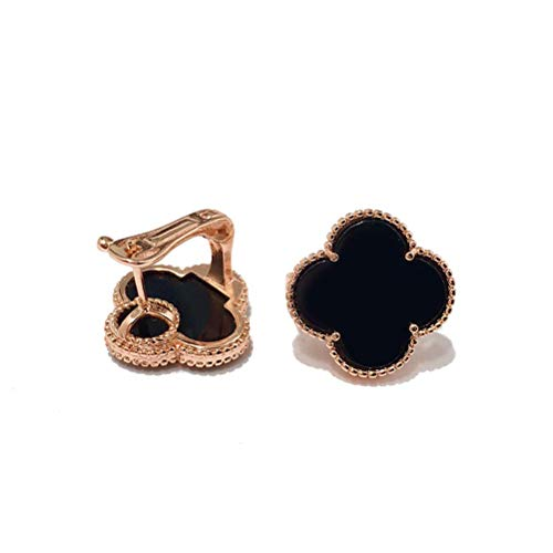 Exquisite Plated 18k Gold Four-leaf Clover Black and White Red and Green Shell Agate Large Single Flower Earrings-Leaf Onyx Clover Stud Earrings for Women &Girls (Black-rose gold)