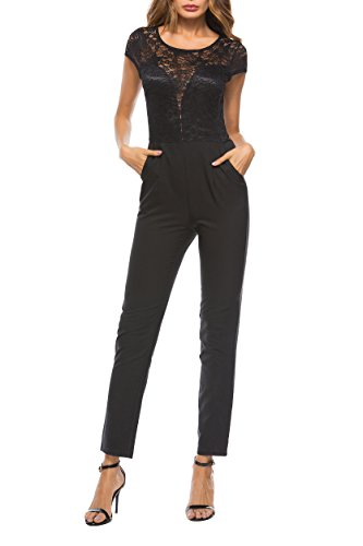 SUNNOW Women's Black Lace Jumpsuit Jersey Romper (XL/US 10-12, - Jersey Sleeveless Lined