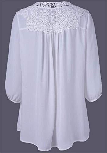 Longue Manches Blanc Confortable Dentelle Huixin Chic Fashion Femme Large Unicolore Longues Shirt Costume Tee V avec Haut Printemps Automne Doux Blouse Shirt Cou Manche lgant ffExrH