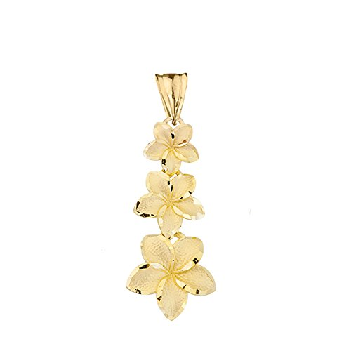 Elegant 14k Yellow Gold Hawaiian Plumeria Flowers Charm Pendant