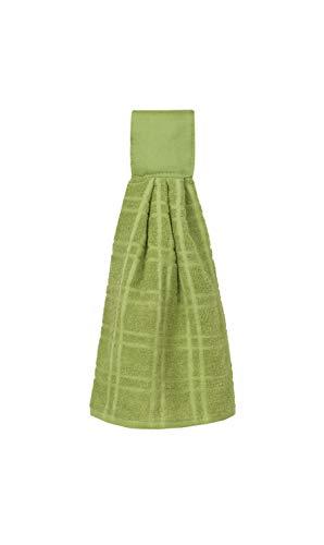 Ritz KitchenWears 100% Cotton Terry Hanging Kitchen Tie Towel, Solid Cactus Green