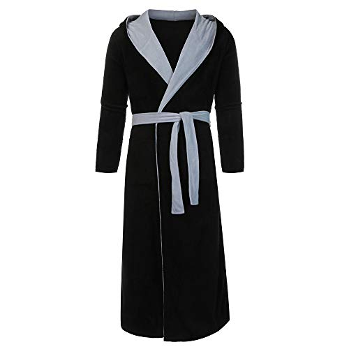 PENGYGY Fashion Men's Winter Lengthened Warm Plush Shawl Bathrobe Home Clothes Long Sleeved Robe Coat from PENGYGY