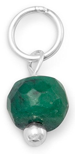 Sterling Silver Charm, 4.5mm Faceted Dyed Green Corundum Bead, 3/8 inch, May (Sterling Silver Dyed Green)
