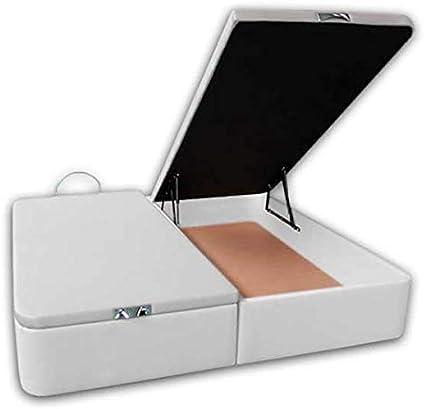 Ventadecolchones - Canapé Abatible Serena Gran Capacidad Tapizado en Polipiel Blanco Medidas 180 x 200 cm en Tejido 3D (2 und 90 x 200)