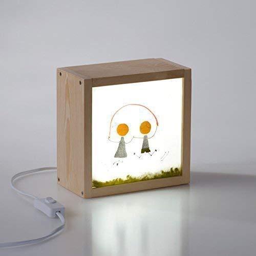 Caja de luz infantil pintada a mano, 100% artesanal y personalizada, 18x18x9,