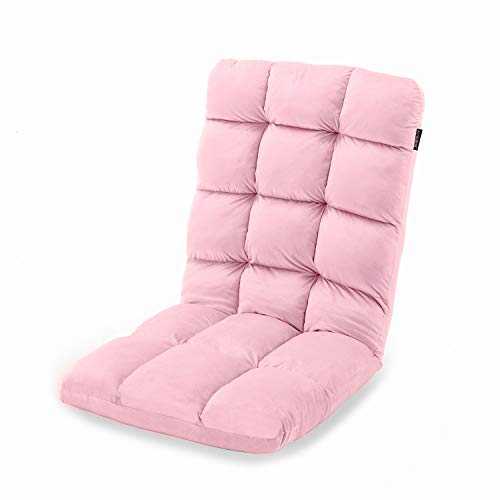 Altrobene High Back Gaming Chair Rocker, Folding Couch Sofa Bed Sleeper Lounger Chair, 5-Position Adjustable, Pink